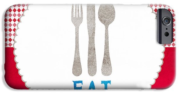 Spoon iPhone Cases - Eat iPhone Case by Linda Woods
