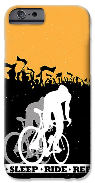 Motivational Poster iPhone Cases - Eat Sleep Ride Repeat iPhone Case by Sassan Filsoof