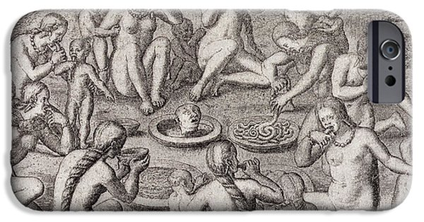 Intestines iPhone Cases - Eating The Flesh Of A Prisoner According To The Old Historian, From Gottfrieds Historia Antipodum iPhone Case by German School