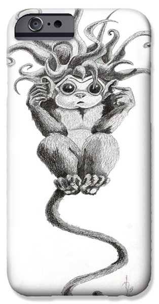 Hear iPhone Cases - Eavesdrop Evil Drawing iPhone Case by Kd Neeley