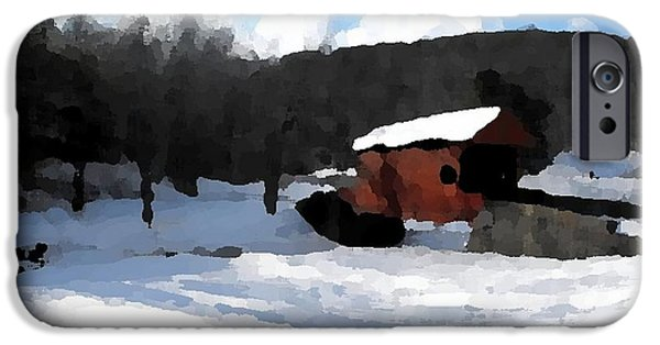 Covered Bridge Mixed Media iPhone Cases - Ebenezer Bridge in Winter iPhone Case by Spencer McKain