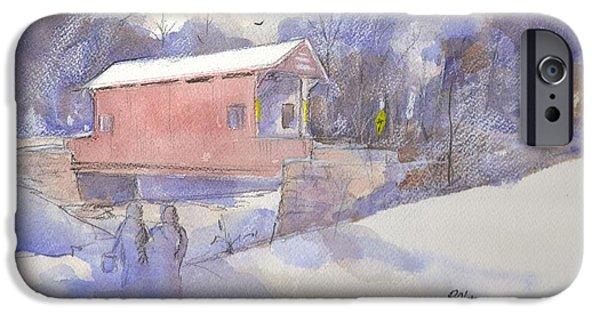 Covered Bridge Paintings iPhone Cases - Ebenezer Bridge  iPhone Case by Robert Yonke