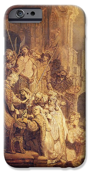 Pilate iPhone Cases - Ecce Homo, 1634 Oil On Paper iPhone Case by Rembrandt Harmensz. van Rijn