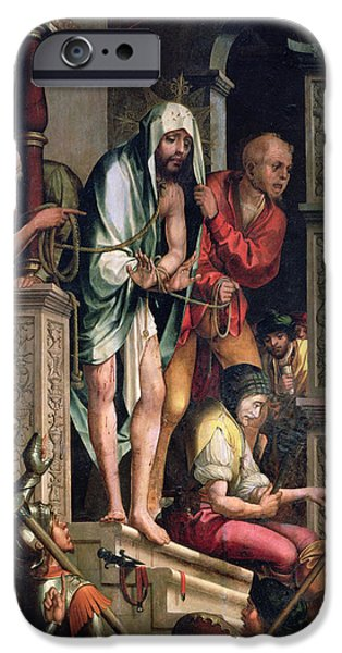 Jesus Photographs iPhone Cases - Ecce Homo Oil On Panel iPhone Case by Cristovao de Figueiredo