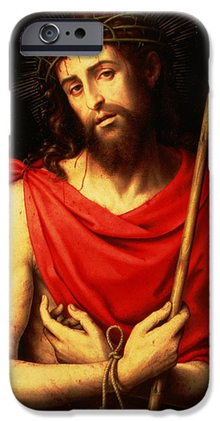 Jesus Photographs iPhone Cases - Ecce Homo Oil On Panel iPhone Case by Vicente Juan Macip