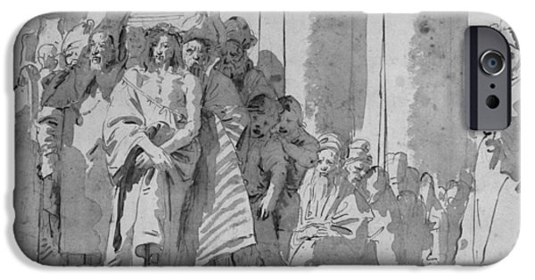 Christ Drawings iPhone Cases - Ecce Homo iPhone Case by Tiepolo
