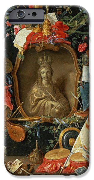 Lute iPhone Cases - Ecclesia Surrounded By Symbols Of Vanity On Copper iPhone Case by Jan van, the Elder Kessel