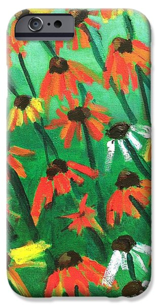 Abstracted Coneflowers Paintings iPhone Cases - Echinacea iPhone Case by Kendall Wishnick Adams
