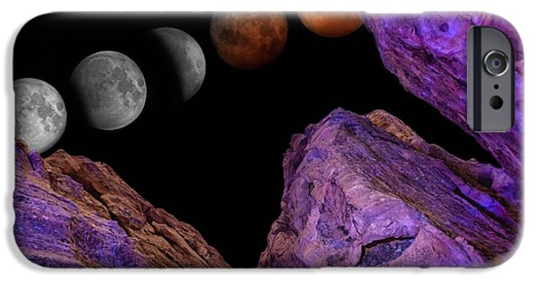 Moon Pyrography iPhone Cases - Eclipse and Blood Moon over Redstone 2 iPhone Case by Will D