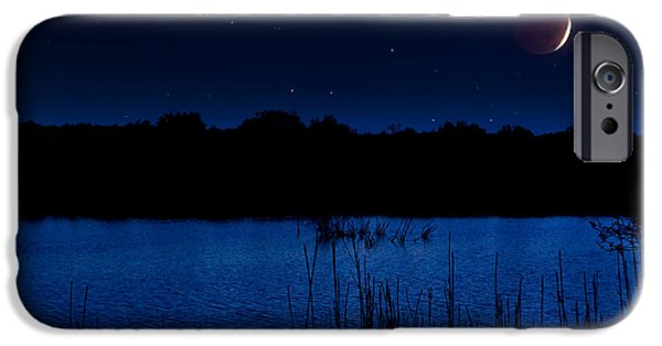 Beauty Mark iPhone Cases - Florida Everglades Lunar Eclipse iPhone Case by Mark Andrew Thomas