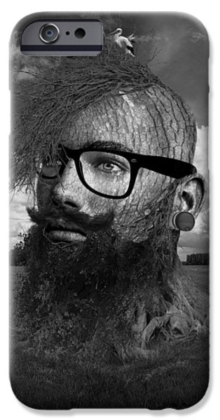 Young Mixed Media iPhone Cases - Eco Hipster Black and White iPhone Case by Marian Voicu