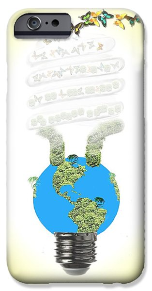 Global Greens iPhone Cases - Eco light bulb  iPhone Case by Rudy Umans
