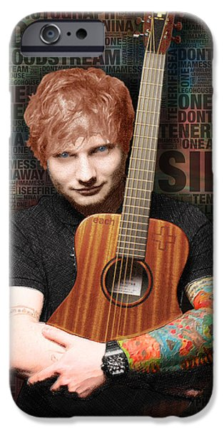 Young Mixed Media iPhone Cases - Ed Sheeran and Song Titles iPhone Case by Tony Rubino