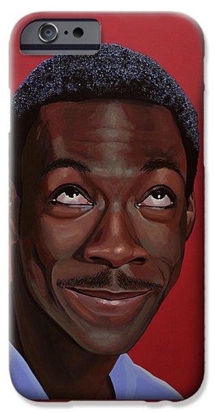 America Paintings iPhone Cases - Eddie Murphy iPhone Case by Paul Meijering