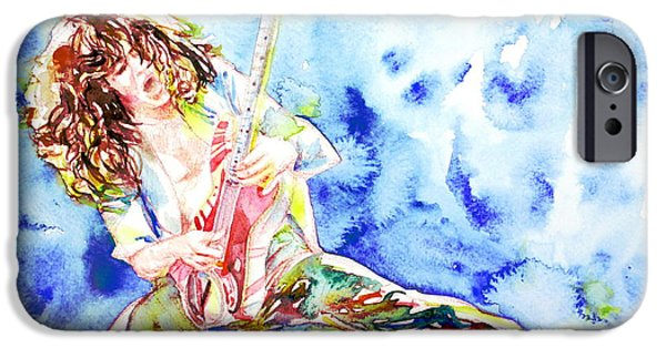 Van Halen iPhone Cases - EDDIE VAN HALEN PLAYING the GUITAR.1 watercolor portrait iPhone Case by Fabrizio Cassetta