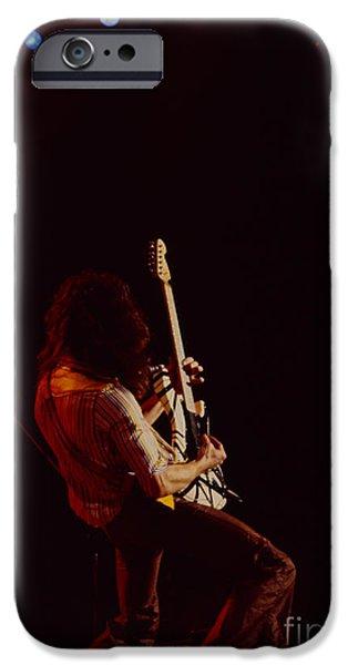 Van Halen iPhone Cases - Eddie Van Halen - Van Halen at the Oakland Coliseum 12-2-1978 Rare Unreleased iPhone Case by Daniel Larsen