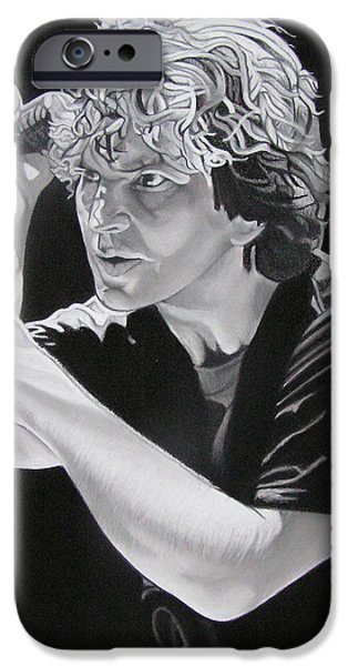 Famous Musician iPhone Cases - Eddie Vedder Black and White iPhone Case by Joshua Morton