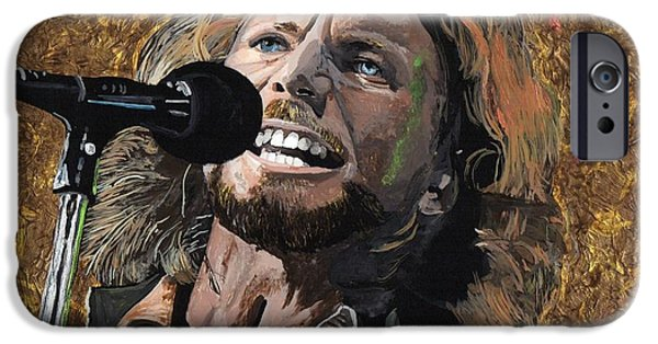 Pearl Jam Paintings iPhone Cases - Eddie Vedder iPhone Case by David Moriarty