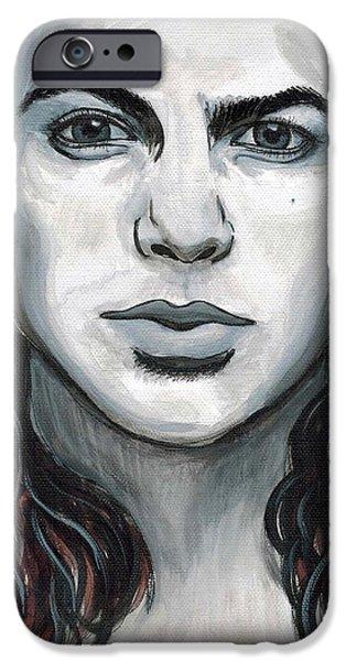 Pearl Jam Paintings iPhone Cases - Eddie Vedder iPhone Case by Emily Morris