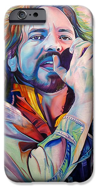 Portrait Paintings iPhone Cases - Eddie Vedder in Pink and Blue iPhone Case by Joshua Morton