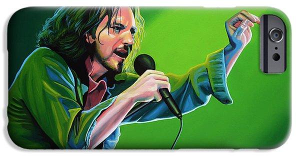 Edward iPhone Cases - Eddie Vedder of Pearl Jam iPhone Case by Paul Meijering