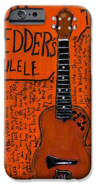 Ukelele iPhone Cases - Eddie Vedder Ukulele iPhone Case by Karl Haglund