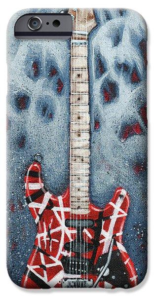 Music Paintings iPhone Cases - Eddies Frankenstrat iPhone Case by Arturo Vilmenay