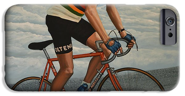 Summer Sports Paintings iPhone Cases - Eddy Merckx iPhone Case by Paul  Meijering