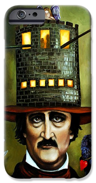 Narrative iPhone Cases - Edgar Allan Poe edit 2 iPhone Case by Leah Saulnier The Painting Maniac