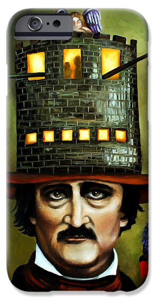 Narrative iPhone Cases - Edgar Allan Poe edit 3 iPhone Case by Leah Saulnier The Painting Maniac