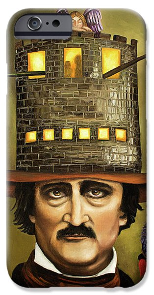 Window Paintings iPhone Cases - Edgar Allan Poe iPhone Case by Leah Saulnier The Painting Maniac