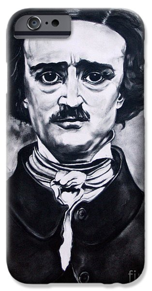 Kim Drawings iPhone Cases - Edgar Allen Poe iPhone Case by Kim Chigi
