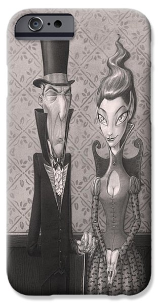 Creepy Drawings iPhone Cases - Edgar and Larissa iPhone Case by Richard Moore