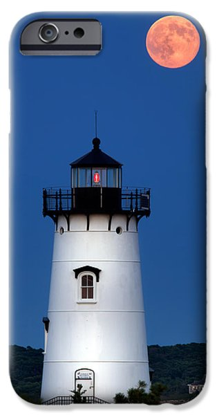 Sea Moon Full Moon iPhone Cases - Edgartown Light by Moonlight iPhone Case by Mark Miller