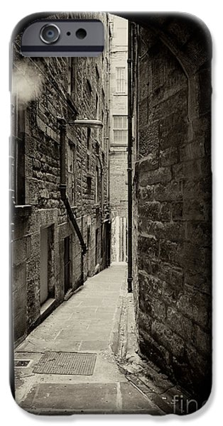 Alley Photographs iPhone Cases - Edinburgh alley sepia iPhone Case by Jane Rix