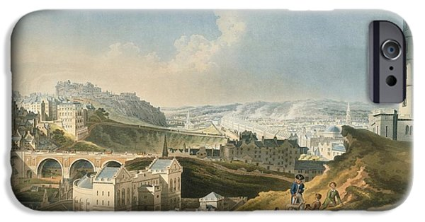 Old North Bridge iPhone Cases - Edinburgh Cityscape, 1810 iPhone Case by British Library