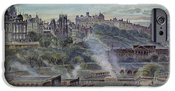 Mounds iPhone Cases - Edinburgh From Near St. Anthonys Chapel On The North-west Shoulder Of Arthurs Seat, 19th Century iPhone Case by John Gendall
