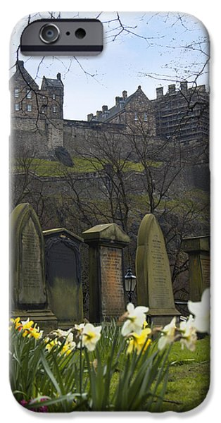 Marker iPhone Cases - Edinburgh Graveyard and Castle iPhone Case by Mike McGlothlen