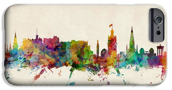 Britain iPhone Cases - Edinburgh Scotland Skyline iPhone Case by Michael Tompsett