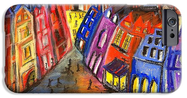 Vibrant Pastels iPhone Cases - Edinburghs Royal Mile  iPhone Case by Karen Larter