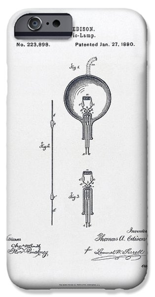 Electricity Drawings iPhone Cases - Edison Light Bulb patent 1880 iPhone Case by Thomas Edison
