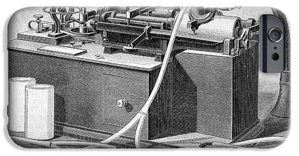 Thomas Alva Edison iPhone Cases - Edisons Phonograph, 1880s iPhone Case by Bildagentur-online