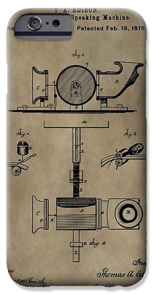 Thomas Alva Edison iPhone Cases - Edisons Phonograph Patent iPhone Case by Dan Sproul