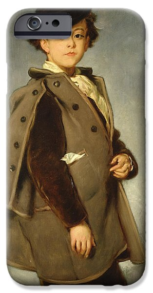 Cute. Sweet iPhone Cases - Edmond Dehodencq wearing an Inverness cape iPhone Case by Alfred Dehodencq