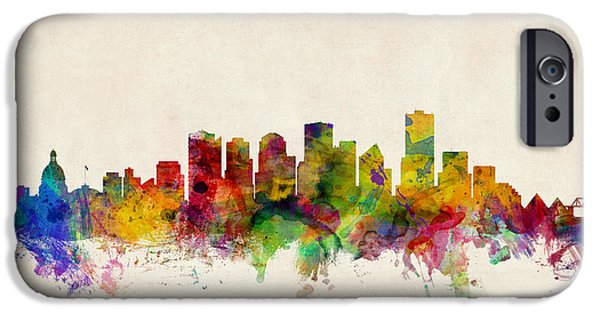 Canada iPhone Cases - Edmonton Canada Skyline iPhone Case by Michael Tompsett