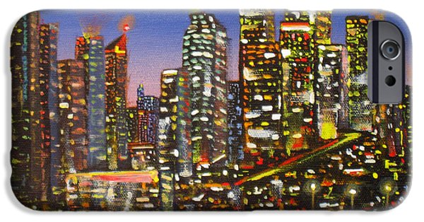 Business Paintings iPhone Cases - Edmonton Night Lights iPhone Case by Mohamed Hirji