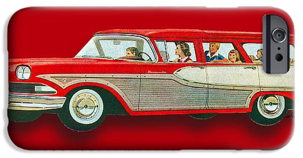 Oil Slick iPhone Cases - Edsel Car Advertisement Wagon Red iPhone Case by Tony Rubino