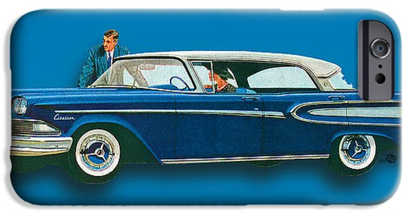 Oil Slick iPhone Cases - Edsel Citation Car Advertisement Sedan Blue iPhone Case by Tony Rubino