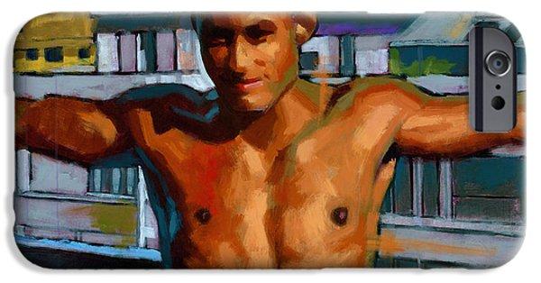Figures iPhone Cases - Eduardo on the 12th Floor iPhone Case by Douglas Simonson