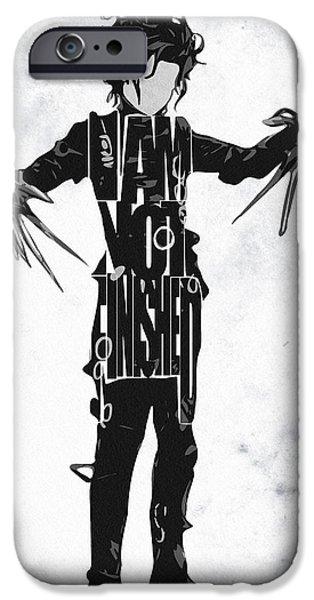 Edward iPhone Cases - Edward Scissorhands - Johnny Depp iPhone Case by Ayse Deniz